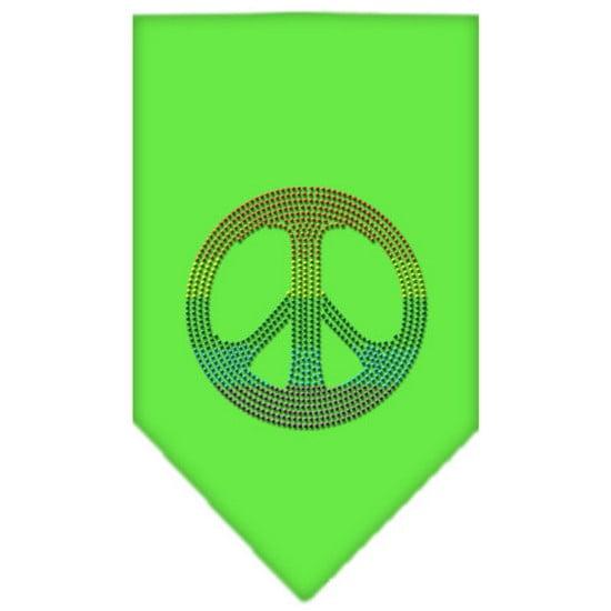 Rainbow Peace Sign Rhinestone Bandana Lime Green Small