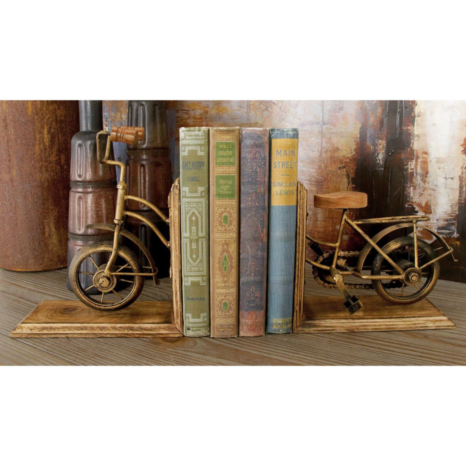 Decmode Metal and Wood Cycle Bookend Pair, Multi Color by Benzara