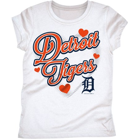 MLB Detroit Tigers Girls Short Sleeve White Graphic