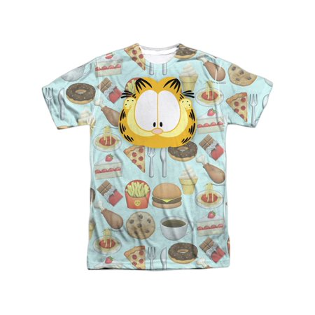 Garfield Comic Strip Cat His Idea Of Cat Food Funny Adult Front Print T-Shirt](Halloween Garfield Strip)