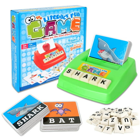 Early Learning Educational Toy 26 English Letter Spelling Alphabet Game Figure Spelling Game Platter Puzzle Spell Words Toys for 3 year old Toddlers, Kids and - 13 Year Old Halloween Party Games