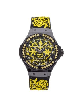 Pre-Owned Hublot Watch Big Bang Broderie Sugar Skull Fluo Sunflower Limited Edition 343.CY.6590.NR.1211