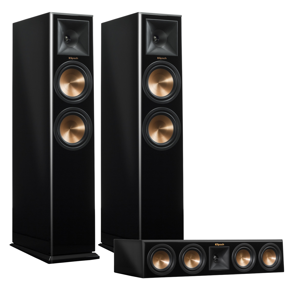 Klipsch RP-260F Reference Premiere Floorstanding Speaker Pair with RP-440C Center Channel Speaker (Piano Black) by Klipsch