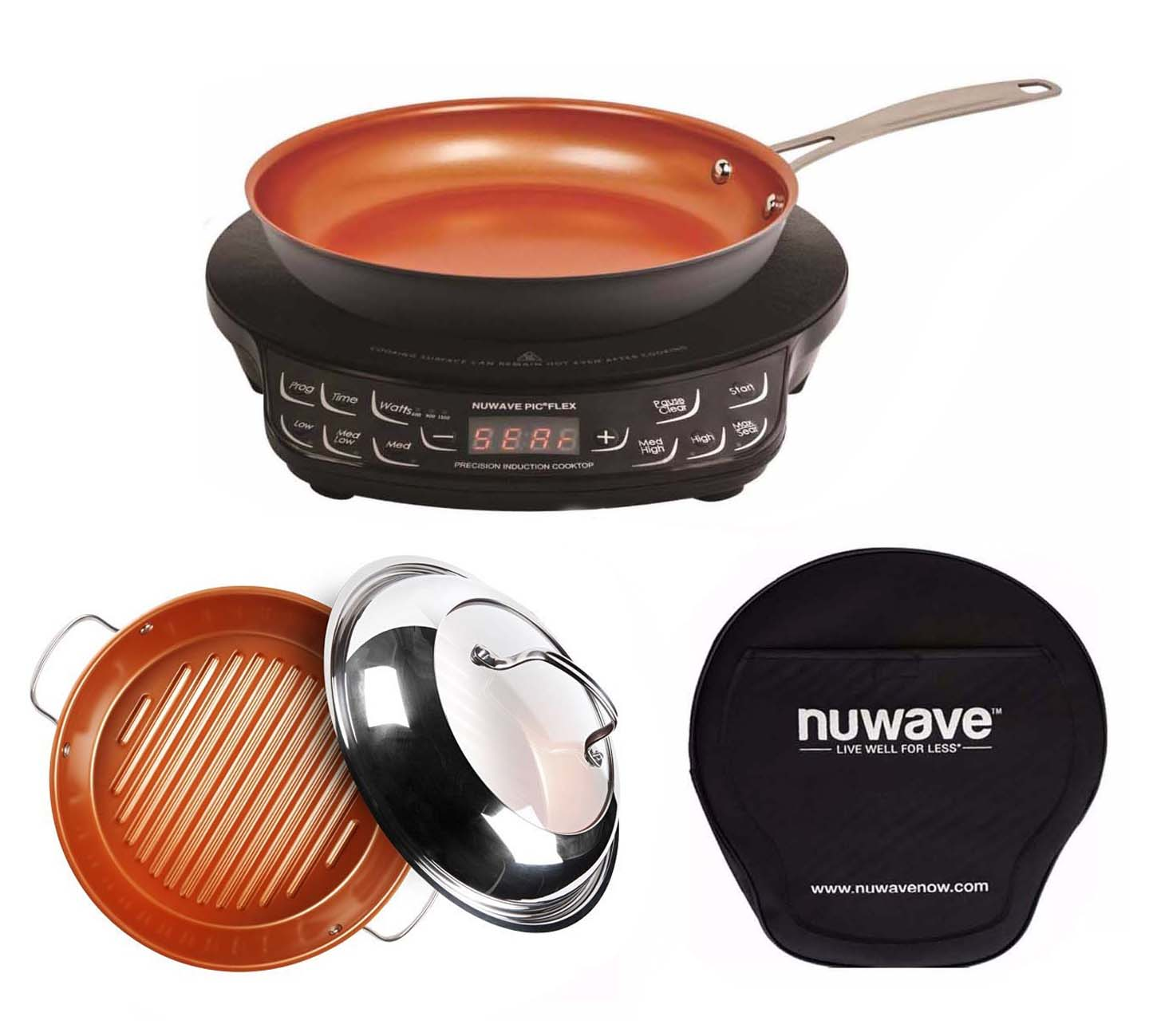 Nuwave Compact Precision Induction Cook Top w  Fry pan & Grill Pan by NuWave