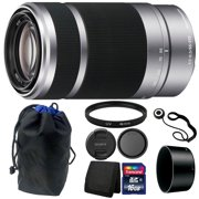 Sony E 55-210mm f/4.5-6.3 OSS E-Mount Lens (Silver) for DSLR Cameras + 16GB Bundle