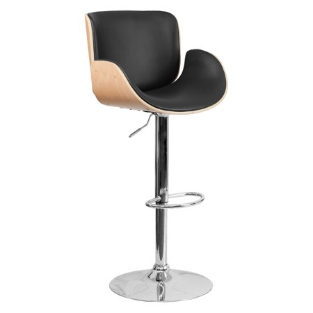 Flash Furniture Walnut Bentwood Adjustable Height Barstool with Curved Black Vinyl - Slat Vinyl