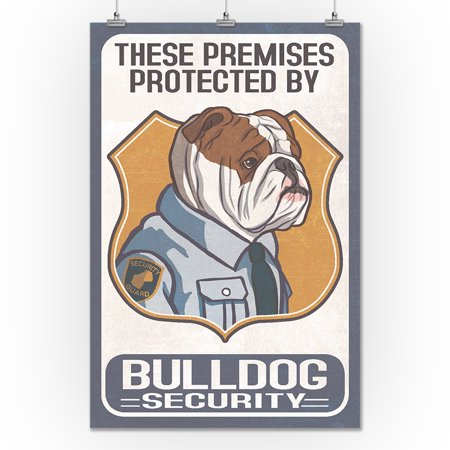 English Bulldog Security Dog Sign Lantern Press Artwork 24x36 Giclee Gallery Print Wall Decor Travel Poster