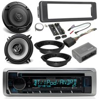 "1996-13 / 2006-13 Harley Davidson Package - Kenwood CD USB Bluetooth Marine Radio Radio, 2x Kenwood 6.5"" Speakers, Dash Radio Install Kit, Speaker Adapters, Thumb Control Interface, Antenna"