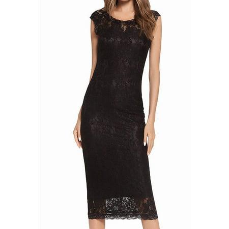 Women Bateau Slim Pencil Lace Design Party Dress