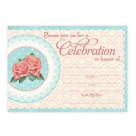 Vintage Chic LARGE Invitations - 10 Invitations 10 Envelopes (80's Invitation Ideas)