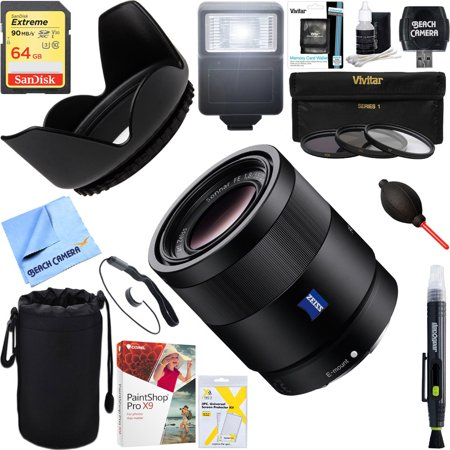 Sony Sonnar T* FE 55mm F1.8 ZA Full Frame Camera E-Mount Lens (SEL55F18Z) + 64GB Ultimate Filter & Flash Photography (Sony 55mm F1 8 Sonnar T Fe Za)