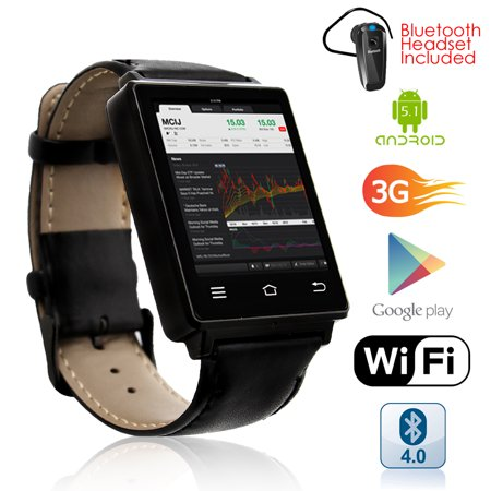 Indigi® Premier 3G GSM Unlocked Android 5.1 OS SmartWatch & Phone + GPS(Maps) + Heart