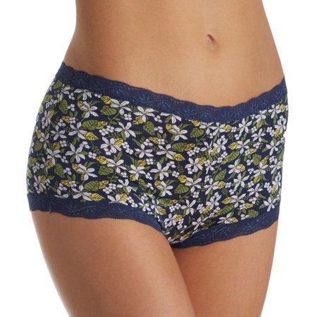 Women's Maidenform 40760 Microfiber and Lace Boyshort Panty (Give Me Lemons-Navy 8)