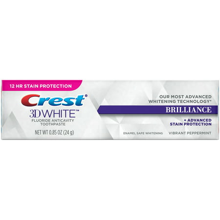 - Crest® 3D White™ Brilliance + Advanced Stain Protection Vibrant Peppermint Fluoride Anticavity Toothpaste 0.85 oz. Box