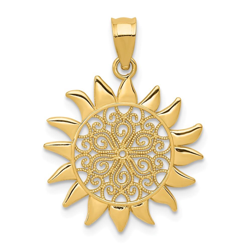 14k Yellow Gold Polished Filigree Sun Pendant