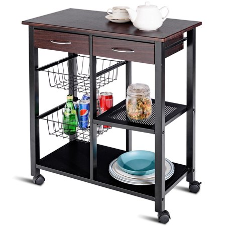 Kitchen Island Shelves - Costway Rolling Kitchen Trolley Cart Storage Island Utility Dining w/Drawer Basket Shelf