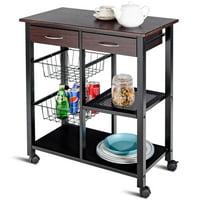 Product Image Costway Rolling Kitchen Trolley Cart Storage Island Utility Dining W Drawer Basket Shelf