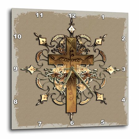 Decorated Cross - 3dRose Bronze decorated cross, Wall Clock, 13 by 13-inch