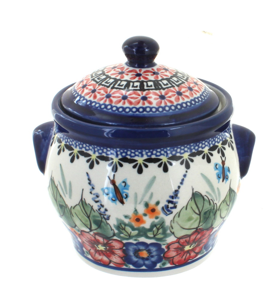 Blue Rose Polish Pottery Floral Butterfly Small Canister