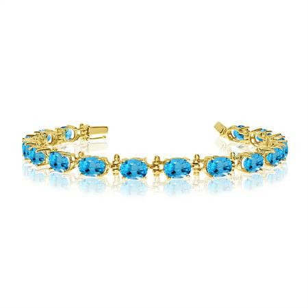 - 14K Yellow Gold Oval Blue Topaz Tennis Bracelet