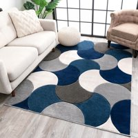 """Well Woven Good Vibes Helena Blue Modern Abstract Geometric 5'3"""" x 7'3"""" High-Low Area Rug"""