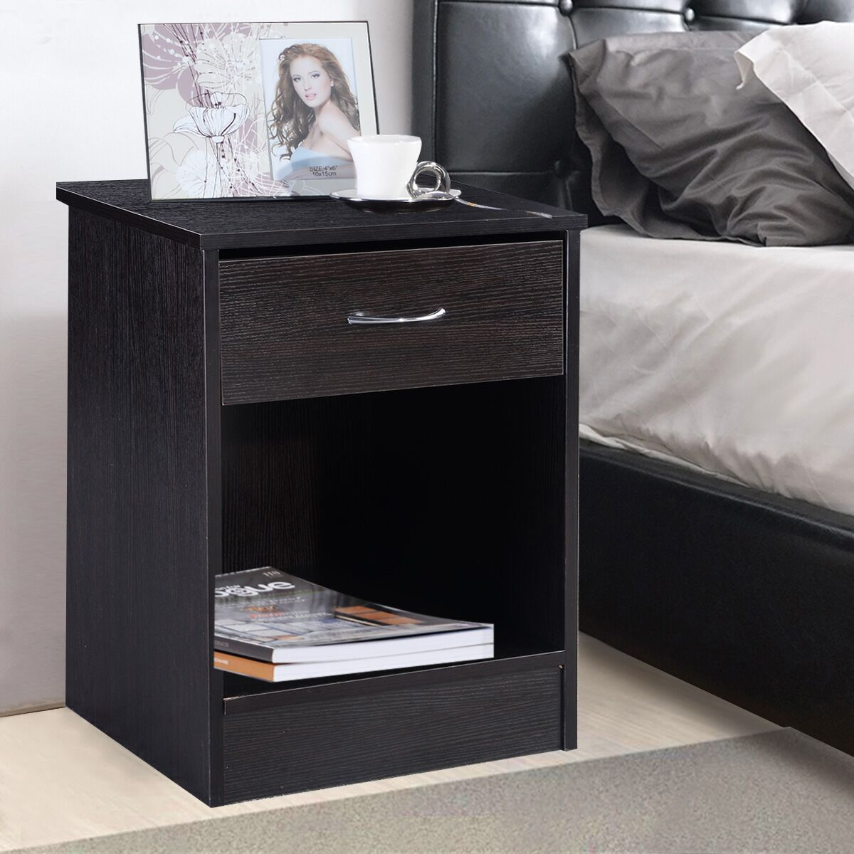 Costway Night Stand Bedroom End Table Bedside Furniture Drawer Sturdy  Storage