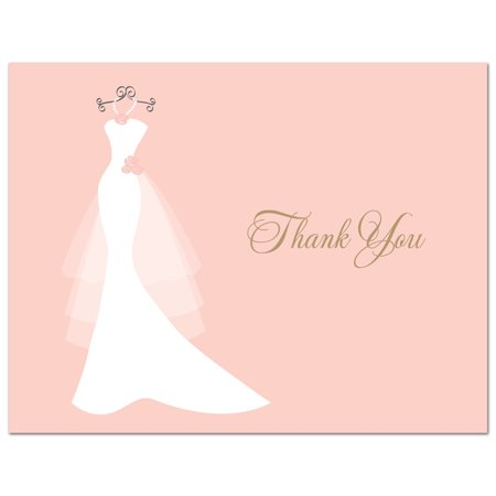 Pink Wedding Gown - Bridal Shower Folded Thank You Cards and Envelopes - 50 count - Wedding Thank You