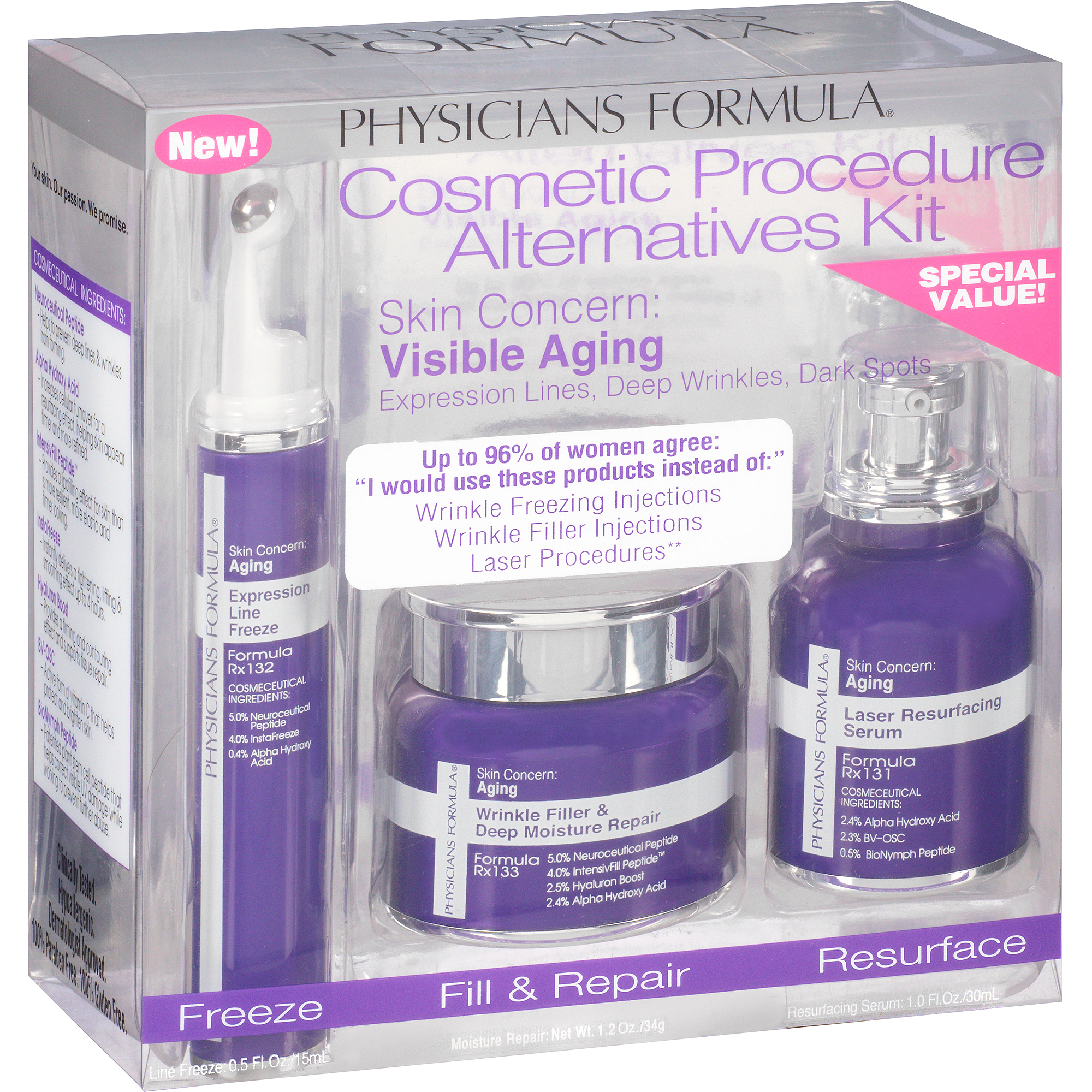 Physicians Formula Cosmetic Procedure Alternatives Kit, 3 pc