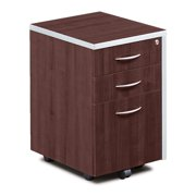 Forward Furniture Compass 3 Drawer Mobile File Cabinet - Commercial Grade - 2 Box Drawers - 1 Letter/Legal - sized Hanging File Drawer - All Drawers Lock - Dark Walnut
