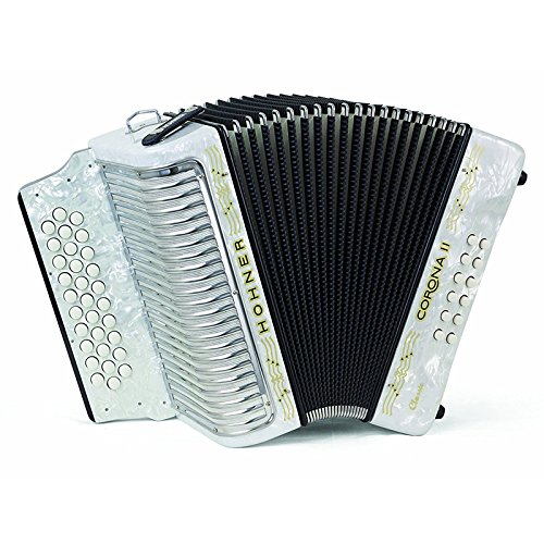 Hohner Button Accordion Corona II Classic FBbEb, With Gig Bag, Straps And Adjustable Bass Strap, Pearl White