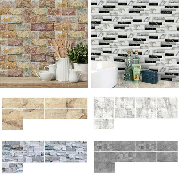 3D Self-Adhesive Kitchen Wall Tiles Room Mosaic Tile Sticker Peel Stick  Decals 9/27/54Pcs - Walmart.com - Walmart.com