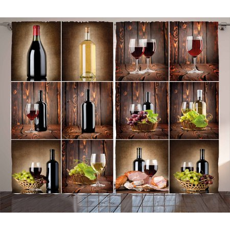 Wine Curtains 2 Panels Set, Wine Themed Collage on Wooden Backdrop with Grapes and Meat Rustic Country Drink, Window Drapes for Living Room Bedroom, 108W X 63L Inches, Brown Black Red, by Ambesonne
