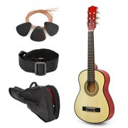 "NEW! 30"" Left Handed Natural Wood Guitar With Case and Accessories for Kids/Boys/Beginners"