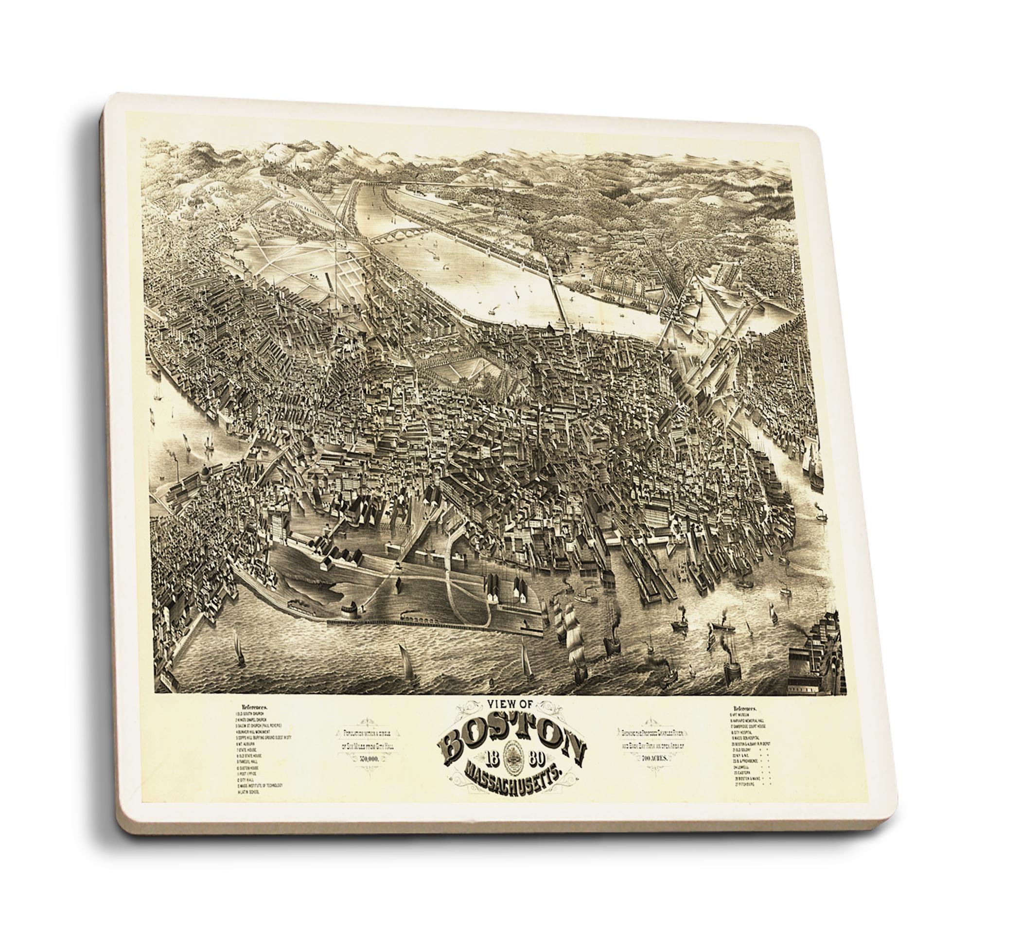 Boston, Massachusetts - (1880) - Panoramic Map (Set of 4 Ceramic Coasters - Cork-backed, Absorbent)