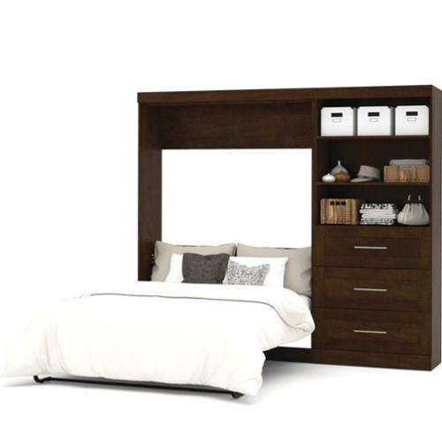 "Bestar Pur 95"" Full Wall Bed with 3 Drawer Storage Unit Chocolate"