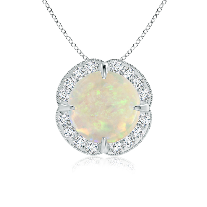 Mother's Day Jewelry Necklace Claw Set Opal Clover Necklace Pendant with Diamond Halo in 14K White Gold (8mm Opal)... by Angara.com