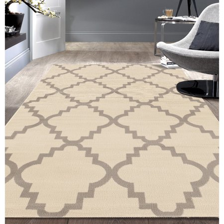 Contemporary Modern Trellis Cream Area Rug or Runner ()