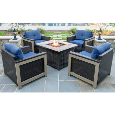 Hanover Outdoor Woven Fire Pit Chat Faux Stone Tile Top