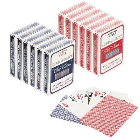 Club Classic (Set of 12) Playing Cards Bulk Plastic Coated Casino Style Decks Professional Poker & - Large Playing Cards Decorations