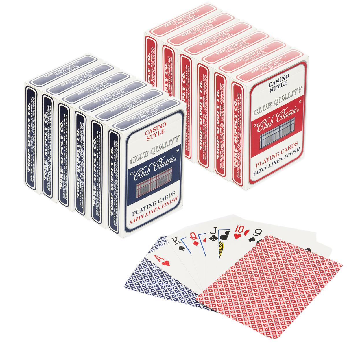 Club Classic (Set of 12) Playing Cards Bulk Plastic Coated Casino Style Decks Professional Poker & Games