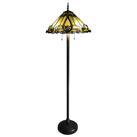 "Chloe Lighting Majestic Grandeur Tiffany-Style 2-Light Victorian Floor Lamp with 18"" Shade"