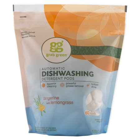 Grab Green Natural Automatic Dishwashing Detergent Pods Tangerine with Lemongrass 60
