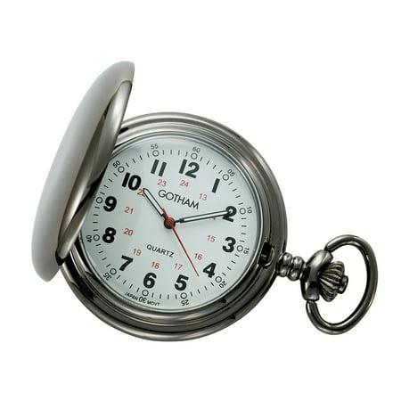 Hamilton White Pocket Watch (Men's Gun Metal White Dial Covered Quartz Pocket Watch with Chain # GWC15042B)