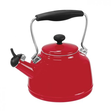Chantal 1.7 Quart Durable Enamel on Steel Vintage Stovetop Tea Kettle Pot, Red