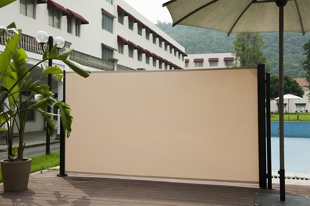 Abba Patio Retractable Folding Screen Fence Privacy Divider with Steel Pole, Beige by Abba Patio