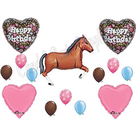 Brown Horse Floral Cowgirl BIRTHDAY PARTY Balloons Decorations Supplies](Horse Theme Party Supplies)