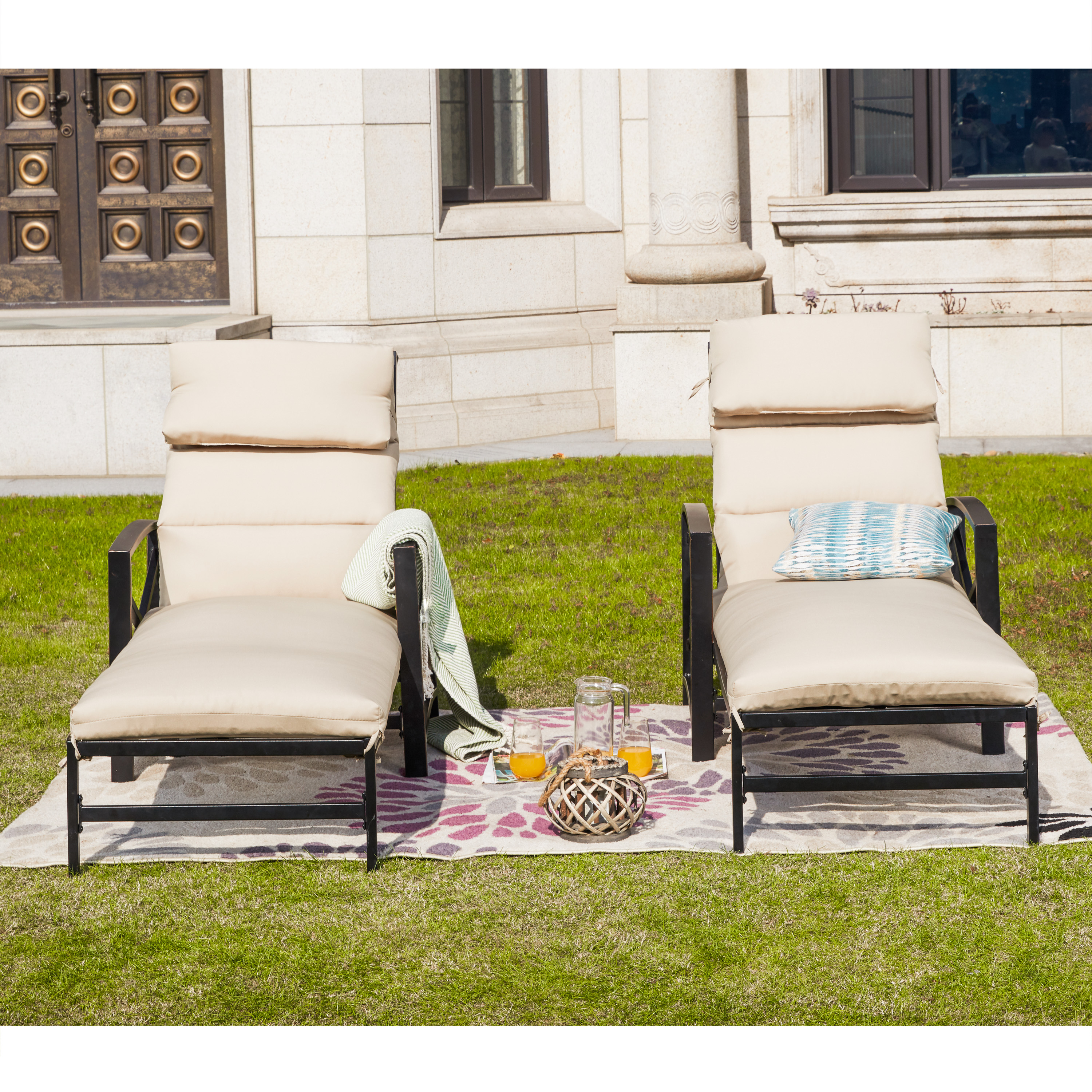 2-Piece Outdoor Lounge Chaise Set