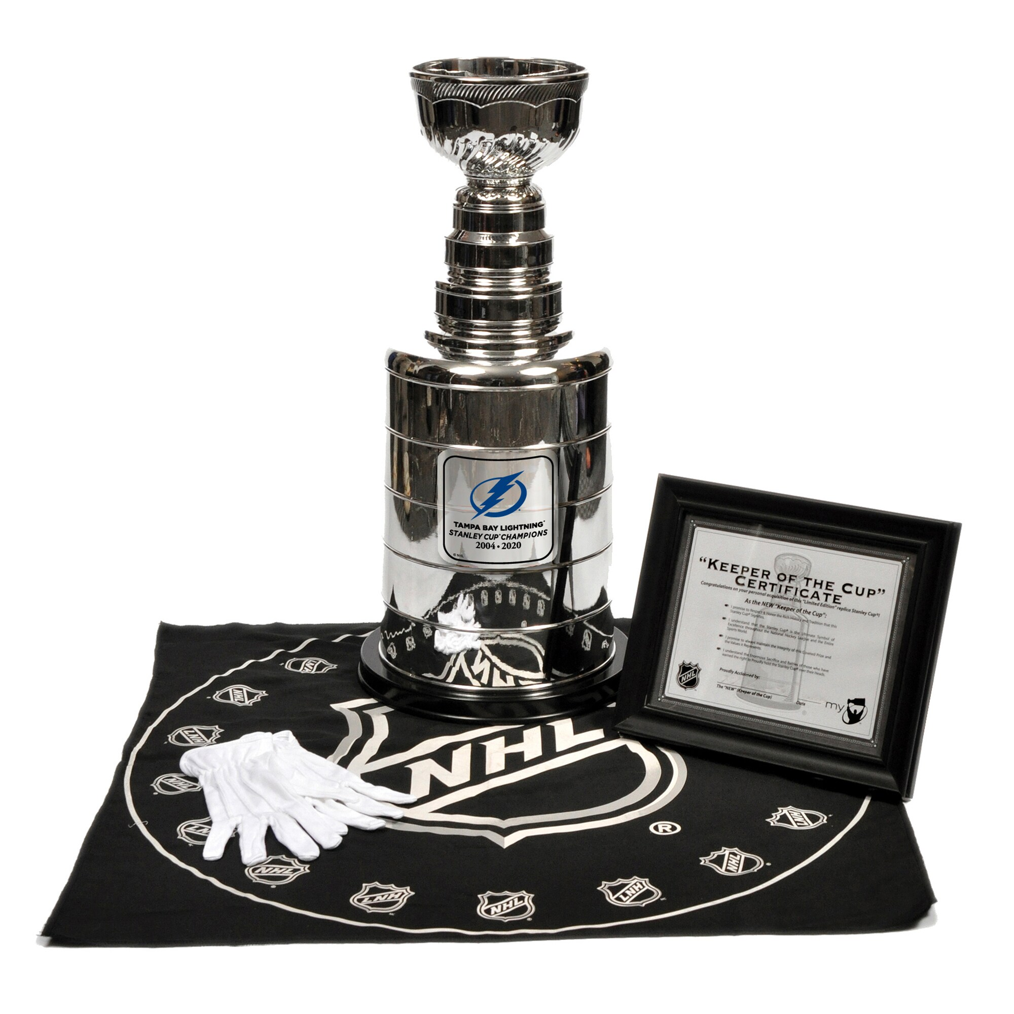 The Sports Vault Tampa Bay Lightning 2020 NHL Mini 3 Stanley Cup Champions Replica Trophy