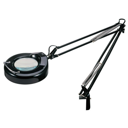V-LIGHT Full Spectrum Natural Daylight Effect Heavy-Duty Magnifier Lamp with Metal Clamp, Black (Natural Metal Reflector)