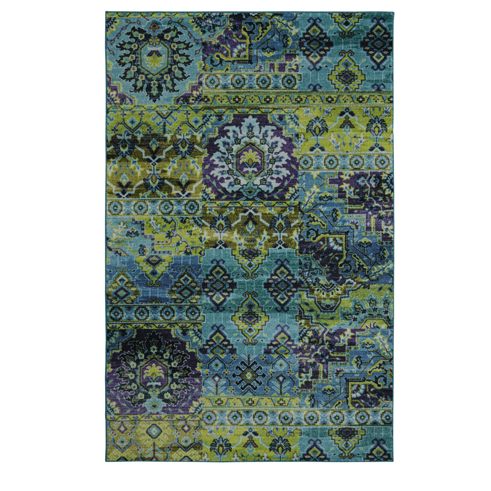 Mohawk Prismatic Area Rugs - Z0112 A448 Contemporary Lime Green / Teal Petals Bulbs Diamond Faded Rug